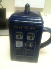 Tardis mug Andrew and Amanda got Nate for his birthday