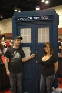Andrew and Amanda with Tardis