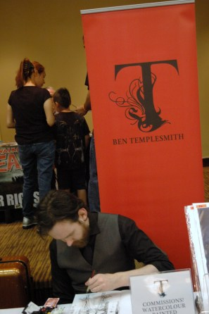 Artist Ben Templesmith working on sketch for a fan