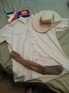 Shirt, hat, gun and socks from 2013