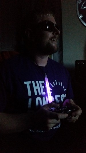 Nate playing games in the dark